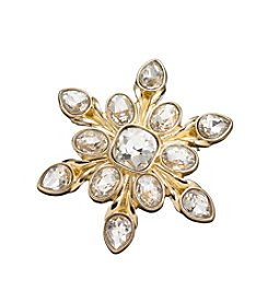 Napier® Goldtone And Faux Crystal Snowflake Shaped Brooch In Gift Box