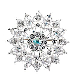 Napier® Silvertone And Faux Crystal Brooch In Gift Box