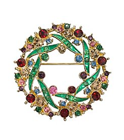 Napier® Goldtone And Multicolor Stone Wreath Brooch In Gift Box