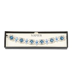 Napier® Silvertone And Blue Stone Bracelet In Gift Box