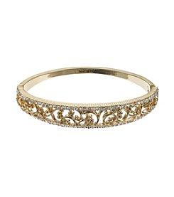 Napier® Goldtone Filagree Hinge Bangle Bracelet In Gift Box