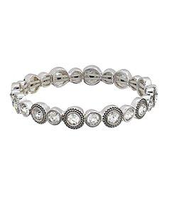 Napier® Silvertone And Clear Stone Stretch Bracelet