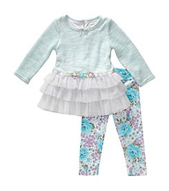 Sweet Heart Rose® Baby Girls' Knit Dress Top With Legging Set