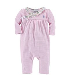 Ralph Lauren Childrenswear Baby Girls' Striped Wrap Coverall