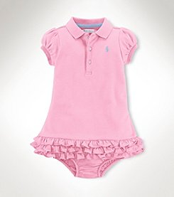 Ralph Lauren® Baby Girls' Short Sleeve Ruffle Hem Dress
