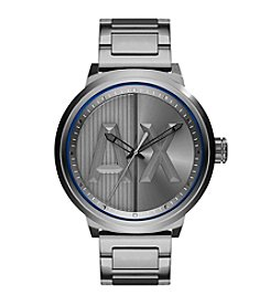 A|X Armani Exchange Men's Gunmetal Stainless Steel H Link Bracelet Watch With Logo Dial