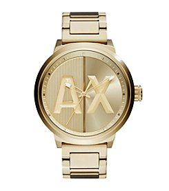 A|X Armani Exchange Mens Goldtone Stainless Steel H Link Bracelet Watch With Logo Dial