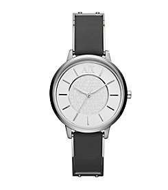 A|X Armani Exchange Women's Silvertone Stainless Steel And Black Leather Watch