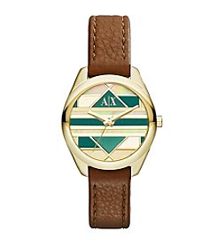 A|X Armani Exchange Women's Goldtone Stainless Steel And Brown Leather Mosaic Watch