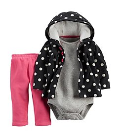 Carter's® Baby Girls' 3-24 Month 3 Piece Polka Dot Hoodie Set