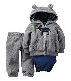 Carter's® Baby Boys' 3-24 Month 3 Piece Plaid Moose Hoodie Set
