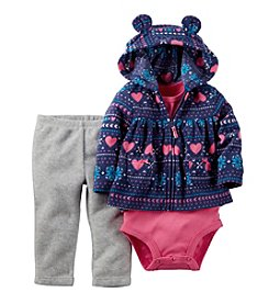 Carter's® Baby Girls' 3-24 Month 3 Piece Geo Heart Print Hoodie