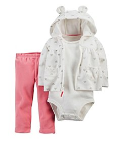 Carter's® Baby Girls' 3-24 Month 3 Piece Heart Print Hoodie Set