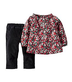 Carter's® Baby Girls' 2-Piece Floral Top & Corduroy Pant Set
