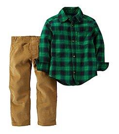 Carter's® Baby Boys' 3-24 Month Plaid Top With Khaki Pant Set