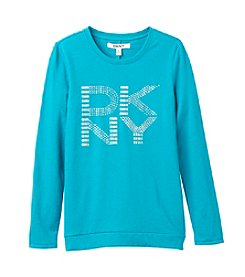 DKNY® Girls' 7-16 Long Sleeve Logo Stud Tee
