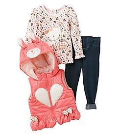 Nannette® Baby Girls' 12-24 Month 3 Piece Rabbit Ears Vest Set