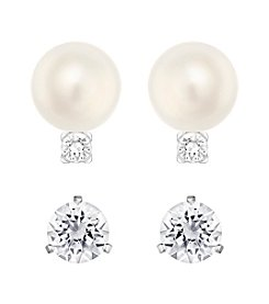Swarovski® Two Pair Silvertone Solitaire And Tricia Earrings Set