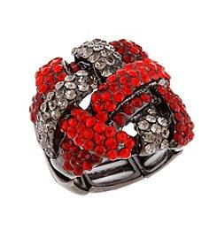 Erica Lyons® Hematite Tone Woven Knot Fashion Stretch Ring