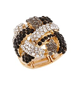 Erica Lyons® Goldtone Woven Knot Fashion Stretch Ring