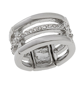 Erica Lyons® Silvertone Triple Row Fashion Stretch Ring