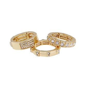 Erica Lyons® Goldtone Triple Stack Fashion Stretch Ring