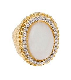 Erica Lyons® Goldtone Oval Faux Pearl Fashion Stretch Ring