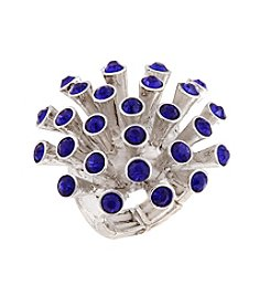 Erica Lyons® Silvertone Spiky Dome Fashion Stretch Ring