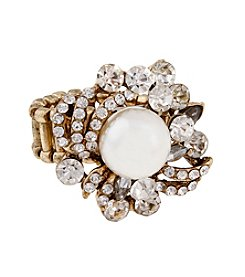 Erica Lyons® Goldtone Faux Pearl Fashion Stretch Ring