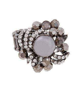 Erica Lyons® Hematite Tone Faux Pearl Fashion Stretch Ring