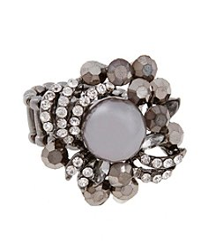 Erica Lyons® Hematite Tone Faux Pearl Fashion Stretch Ring