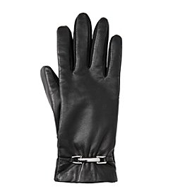 Isotoner Signature® Stretch Leather Fleece-Lined Gloves With Belt