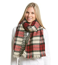 Steve Madden Plaid Houndstooth Blanket Wrap
