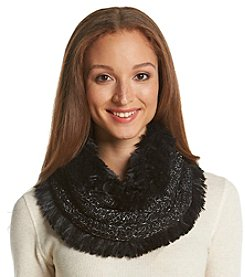 Cejon® Shaggy Faux Fur Mixed Knit Cowl