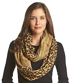 MICHAEL Michael Kors® Leopard MK Logo Raschel Large Infinity Scarf