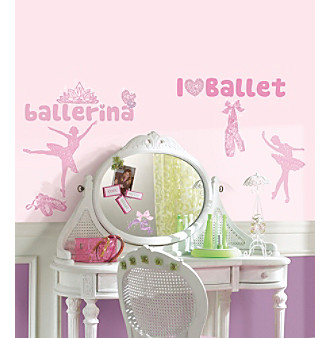 RoomMates Ballet with Glitter Peel & Stick Wall Decals