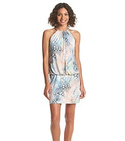 Jessica Simpson Printed Halter Neck Blouson Dress