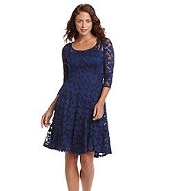 Chetta B. Lace Overlay Dress