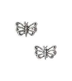 Marsala Sterling Silver Butterfly Post Earrings