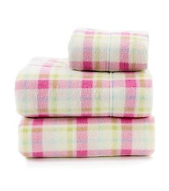 LivingQuarters Light Pink Plaid Fleece Sheet Set