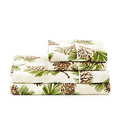 LivingQuarters Cold-Weather Performance Arlee Pine Cone Microfiber Sheet Set