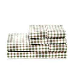 LivingQuarters Cold-Weather Performance Green and Tan Check Microfiber Sheet Set