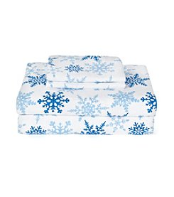 LivingQuarters Heavy-Weight White and Blue Snowflake Flannel Sheet Set