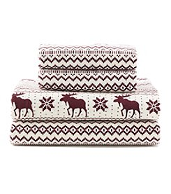 LivingQuarters Heavy-Weight Moose Fair Isle Flannel Sheet Set