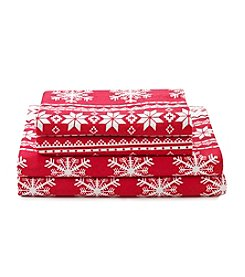 LivingQuarters Heavy-Weight Red Fair Isle Flannel Sheet Set