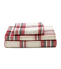 LivingQuarters Heavy-Weight Red and Ivory Plaid Flannel Sheet Set
