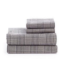 LivingQuarters Heavy-Weight Glen Plaid Flannel Sheet Set