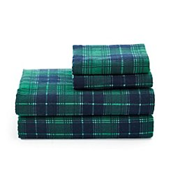 LivingQuarters Heavy-Weight Green and Navy Plaid Flannel Sheet Set