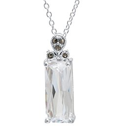 Silver-Plated Marcasite Cubic Zirconia Pendant Necklace