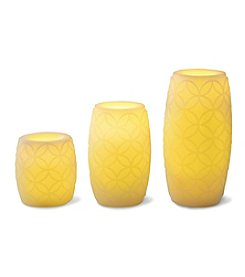 3-pc. Embossed Flameless LED Candle Set with Timer